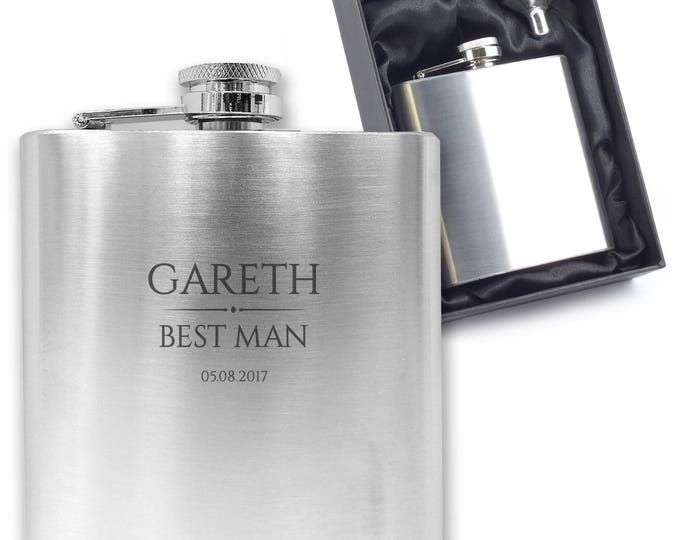 Personalised engraved BEST MAN hip flask wedding thank you gift idea, stainless steel presentation box - BR9
