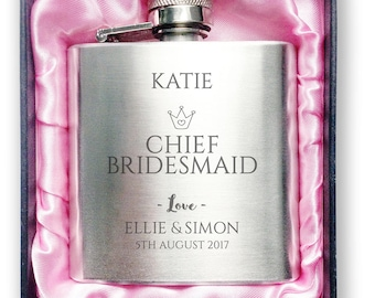 Personalised engraved CHIEF BRIDESMAID stainless steel hip flask wedding thank you gift idea, handbag sized + presentation box - 3CR2