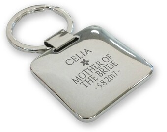 Personalised engraved MOTHER of the BRIDE wedding keyring gift, silver plated deluxe pillow square keyring - SQU11