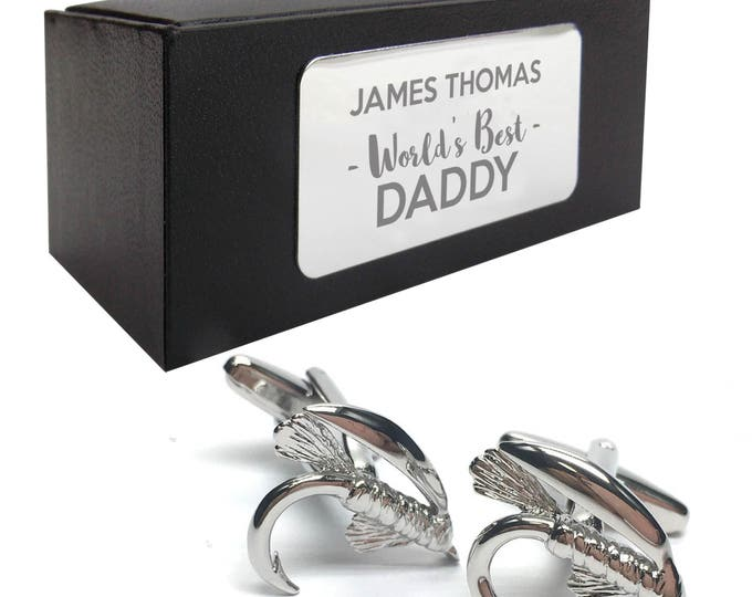 Fishing novelty angler CUFFLINKS birthday gift, presentation box PERSONALISED ENGRAVED plate - 513