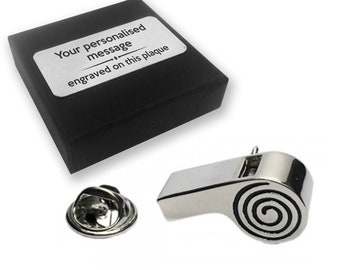 Whistle, referee, football, lapel pin badge, tie pin, brooch accessory, boutonniere - personalised engraved gift box - 224