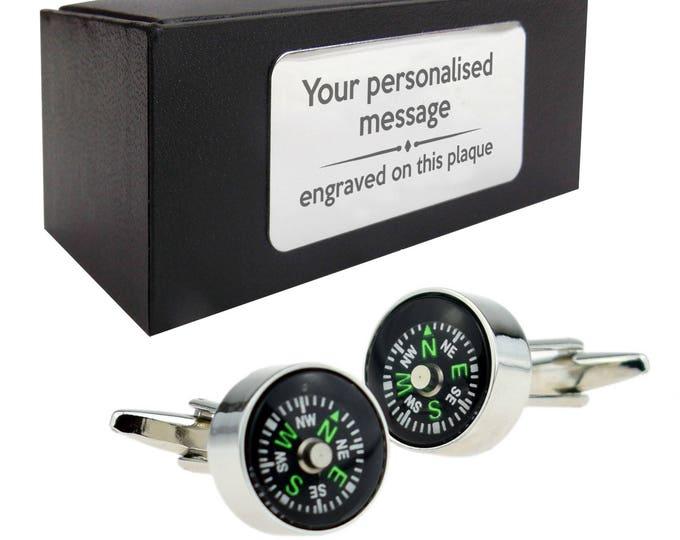 Working compass orienteering walker CUFFLINKS gift, personalised engraved cufflink box - 003