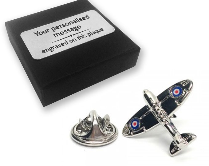 Spitfire, aeroplane, plane, lapel pin badge, tie pin, brooch accessory, boutonniere - personalised engraved gift box - 069