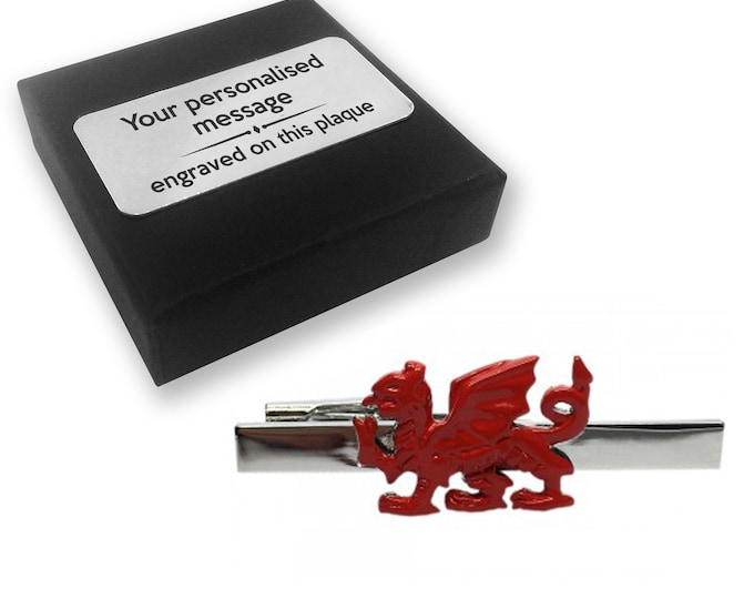 Welsh, dragon, Wales, TIE CLIP, tie tac, personalised ENGRAVED novelty birthday christmas wedding gift - 133