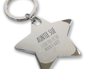 Personalised engraved AUNTIE AUNT keyring gift, deluxe chunky star keyring. Love you to the moon and back - LM5