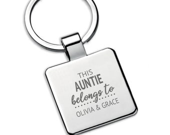 Personalised This AUNTIE aunty belongs to keyring square metal keychain gift - 5580LON7