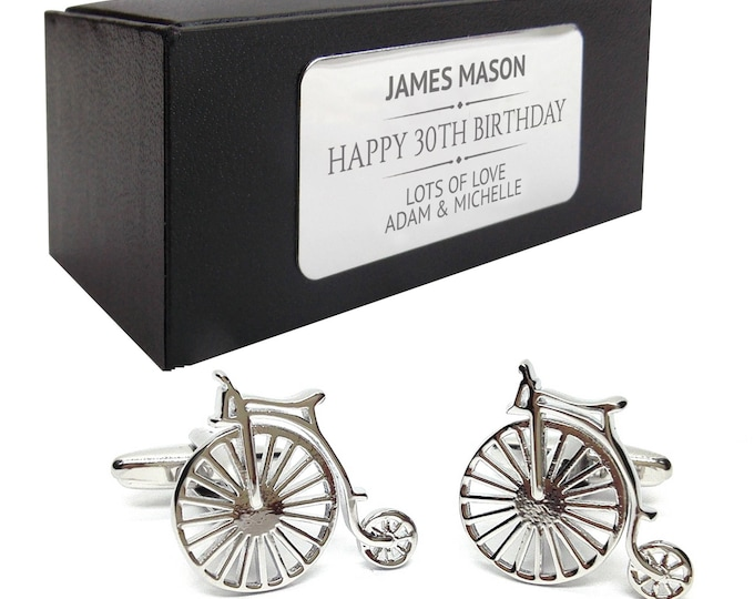 Vintage penny farthing cycle bicycle CUFFLINKS birthday gift, presentation box PERSONALISED ENGRAVED plate - 409