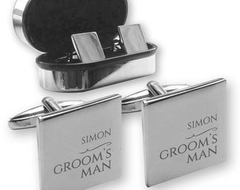 Personalised engraved GROOMS MAN wedding cufflinks, in a chrome coloured presentation box - NY9