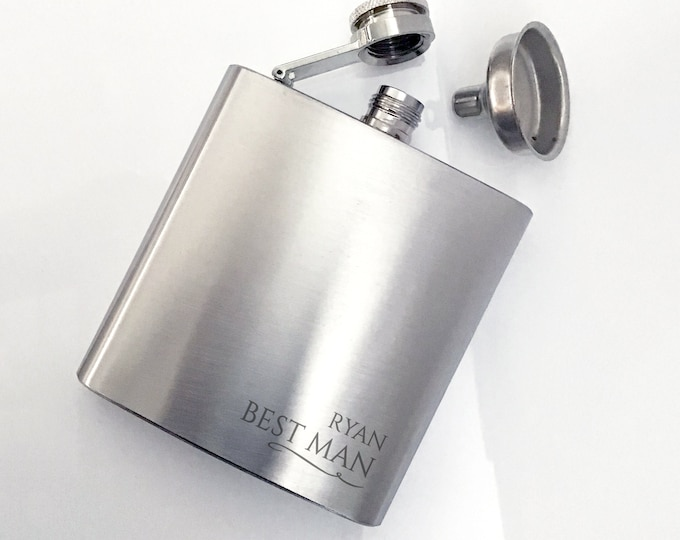 Engraved BEST MAN hip flask personalised wedding gift, stainless steel, presentation box - 6SS_RR5