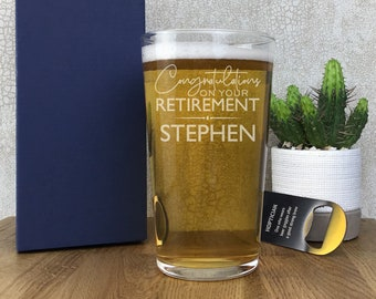 Laser engraved pint glass RETIREMENT gift, personalised beer glass gift for him, gift box, Congratulations on your retirement - SPT-RET