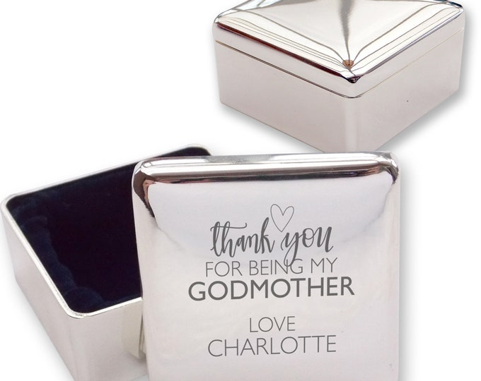 Personalised engraved godmother CHRISTENING baptism silver plated trinket box gift  - GMT2