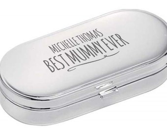 Personalised engraved PILL BOX gift for MUMMY, World's Best, dual compartment, mirror lid, polished chrome metal - 9004-NY5