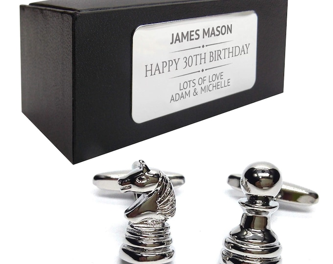CHESS cufflinks birthday gift for him, knight pawn, personalised engraved cufflink box - 137