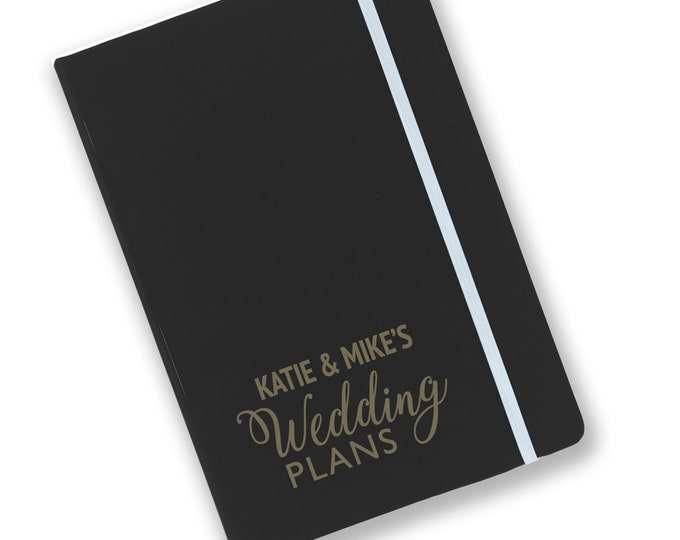 Personalised engraved A5 soft touch, black notebook, Wedding Plans, journal, book, notepad, lined notebook - BKA5-NOTE14