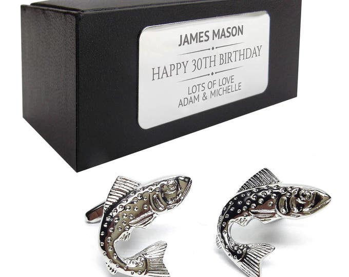 Fish fishing angling salmon angler CUFFLINKS gift, personalised engraved cufflink box - 031