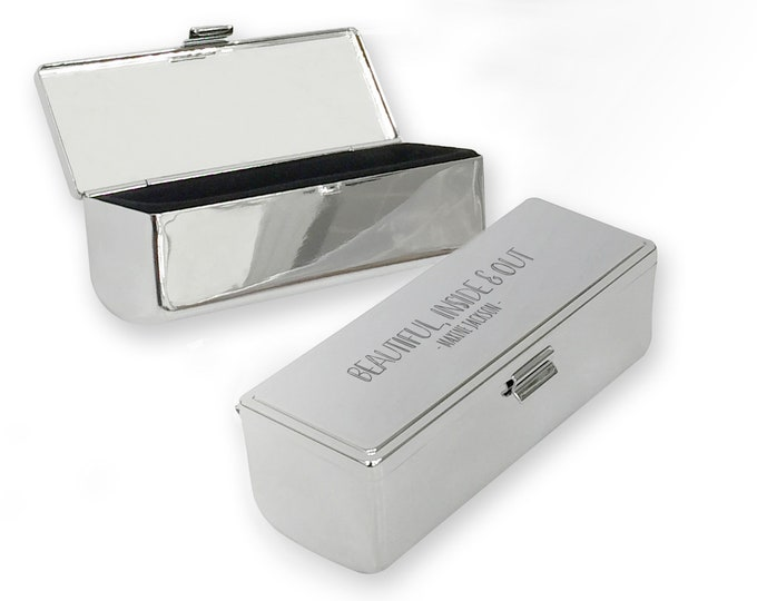 Personalised engraved lipstick case with mirror, lip balm, holder, chromed metal, Beautiful inside & out - LC-INS