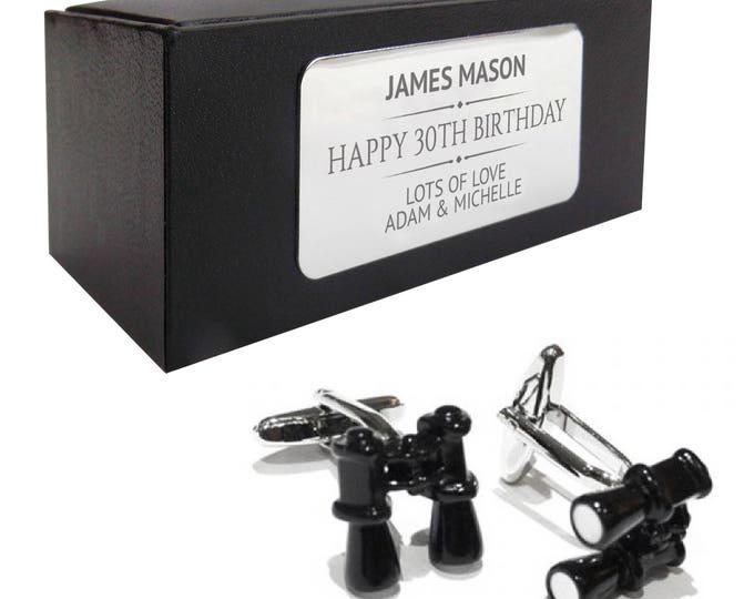 Binoculars bird twitcher CUFFLINKS birthday gift, presentation box PERSONALISED ENGRAVED plate - 346