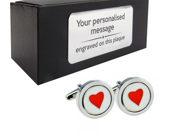 Red love heart novelty CUFFLINKS birthday gift, presentation box PERSONALISED ENGRAVED customized plate - 040h