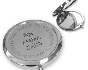 Personalised engraved MAID OF HONOUR compact mirror wedding thank you gift idea, handbag mirror - FL3