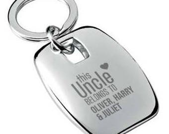 Personalised engraved This UNCLE belongs to KEYRING chromed metal keychain rounded chunky barrel shape - 7863-BEB3