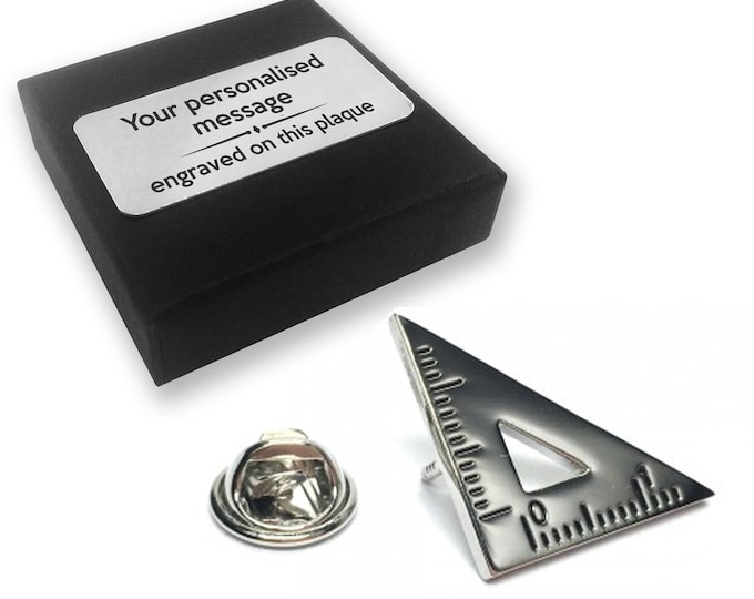 Set square, maths, engineer, lapel pin badge, tie pin, brooch accessory, boutonniere - personalised engraved gift box - 346