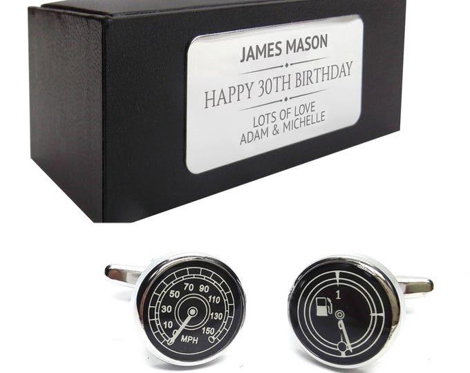 Fuel gauge speedo car motoring CUFFLINKS birthday gift for him, personalised engraved cuff link box - 103
