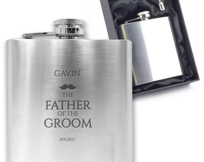 Personalised engraved FATHER OF the GROOM hip flask wedding thank you gift idea, stainless steel presentation box - MU5