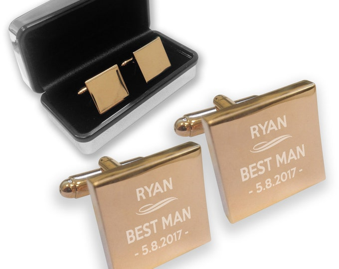 Engraved BEST MAN wedding cufflinks, rose gold colour, chromed gift box, personalised - RDU7