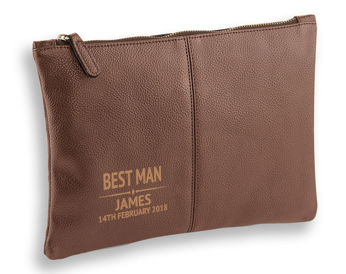 Engraved Best Man wedding gift, BROWN LEATHER pu accessory case, tablet, wash bag, toiletry case - AC-WD3