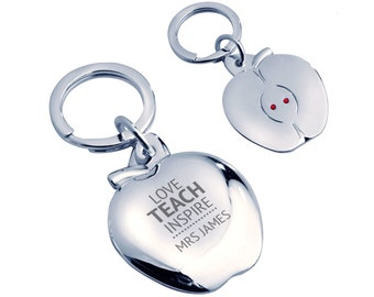 Personalised engraved Teacher keyring gift,Love teach inspire, silver plated, crystal - AP-TEA2