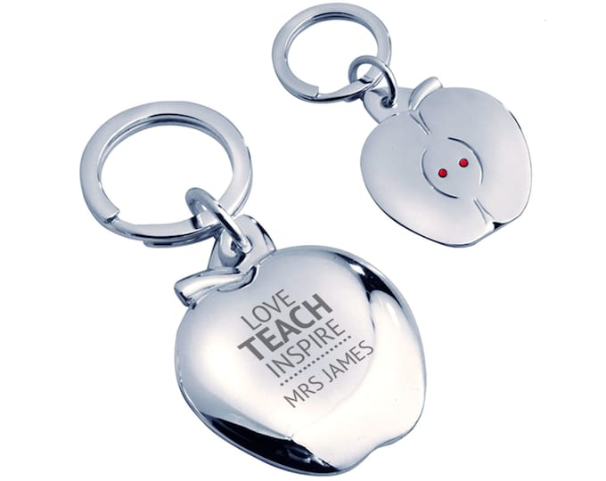 Personalised engraved Teacher keyring gift,Love teach inspire, silver plated, crystal - AP-TEA2