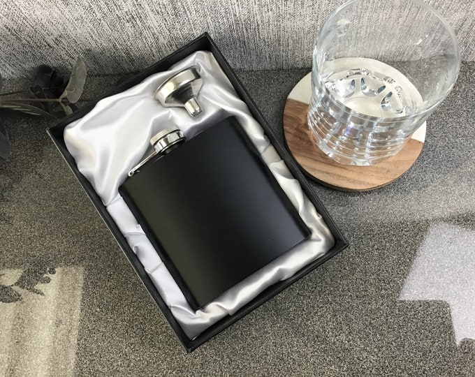 Satin-lined presentation gift boxes for 6oz black hip flasks previously purchased from CV Engraving