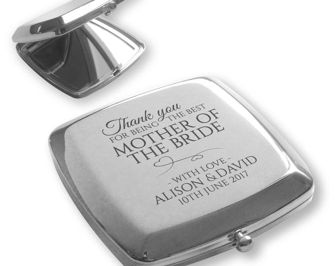 Personalised engraved MOTHER of the BRIDE silver plated compact mirror wedding gift idea - TY6
