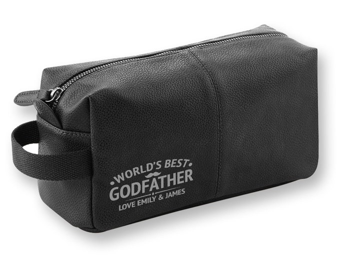 Personalised engraved World's Best Godfather BLACK LEATHER pu washbag, toiletry bag gift - WB-WB9