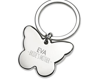 Engraved MOTHER of the BRIDE butterfly wedding keyring thank you gift idea - 5639BUW8