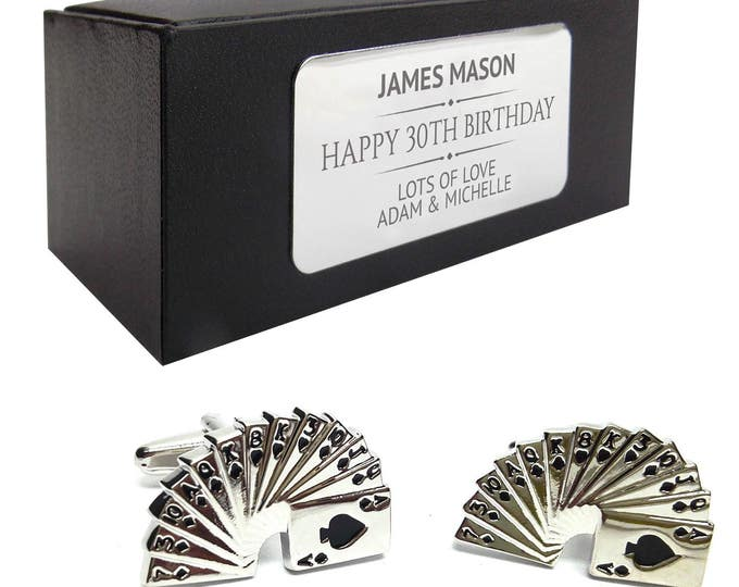 Pack of cards gambler poker casino CUFFLINKS gift, personalised engraved cuff link box - 015