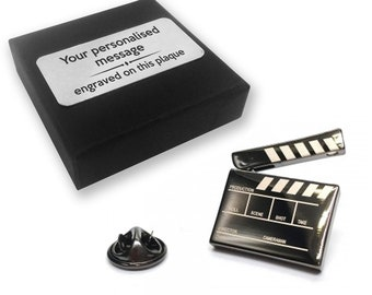 Clapper board, movie, film, lapel pin badge, tie pin, brooch accessory, boutonniere - personalised engraved gift box - 554