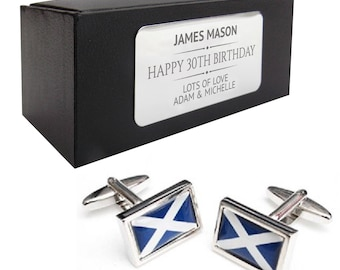 Madagascar Sterling Silver Flag Cufflinks in Engraved Personalised Box