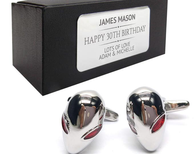 Alien ufo gaming gamer CUFFLINKS gift for him, personalised engraved cuff link box - 339