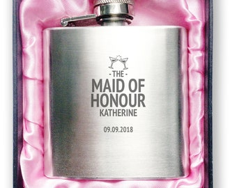 Engraved MAID of HONOUR stainless steel wedding hip flask, 3oz handbag size in presentation gift box - 3HP-WC5