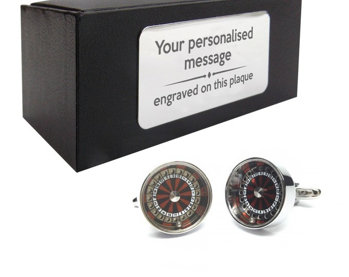 Roulette wheel, casino, gambling CUFFLINKS gift, presentation box personalised ENGRAVED customized plate - 075R