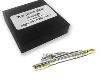 Writer author fountain pen tie clip, tie tac, personalised ENGRAVED gift box - 102