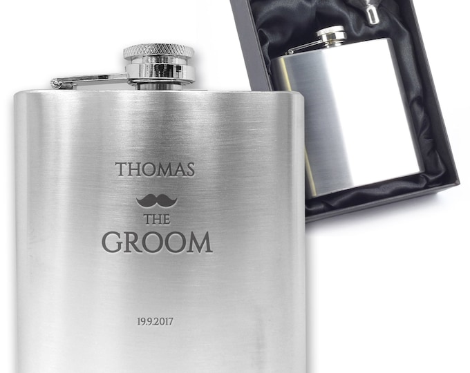 Personalised engraved GROOM hip flask wedding thank you gift idea, stainless steel presentation box - MU3