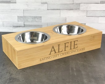 Laser engraved double pet bowl, personalised for small dogs or cats, water and food bowls. Eating left overs since DPB-4