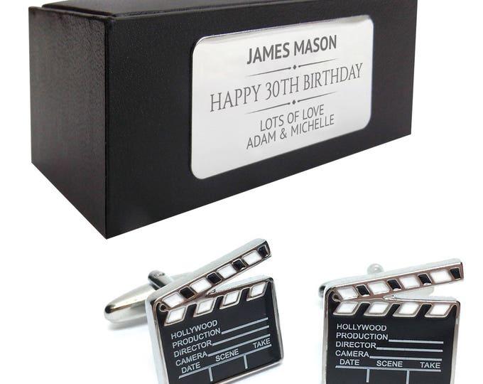 Hollywood movie clapper board CUFFLINKS birthday gift, presentation box PERSONALISED ENGRAVED plate - 195