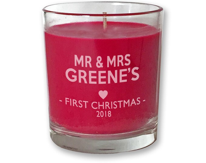 Personalised engraved 1ST CHRISTMAS scented candle gift, red, first christmas, glass votive - CDL-XMA1