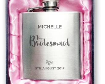 Personalised engraved BRIDESMAID stainless steel hip flask wedding thank you, hen party gift, handbag sized + presentation box - 3WD2