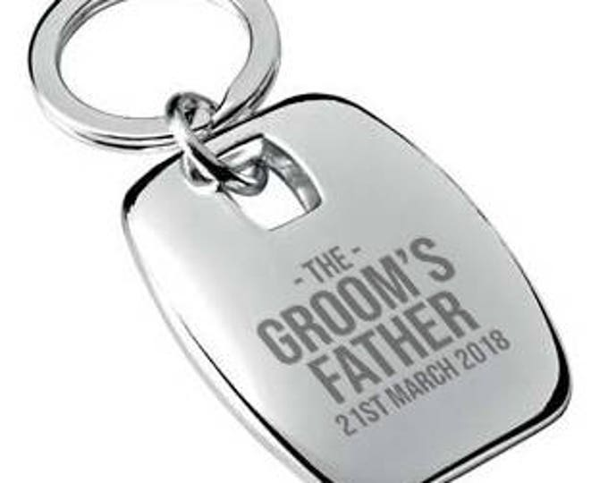Personalised engraved father of the groom wedding KEYRING gift, chromed metal keychain rounded chunky barrel shape - 7863-BRW2