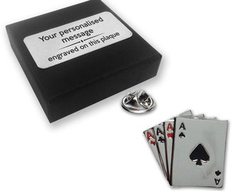 4ce88b66292 Ace, cards, casino pin badge, tie pin, brooch accessory, boutonniere -  personalised engraved gift box - 168