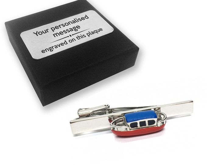 Narrowboat, canal, barge, boat, TIE CLIP, tie tac, personalised ENGRAVED novelty birthday christmas wedding gift - 122